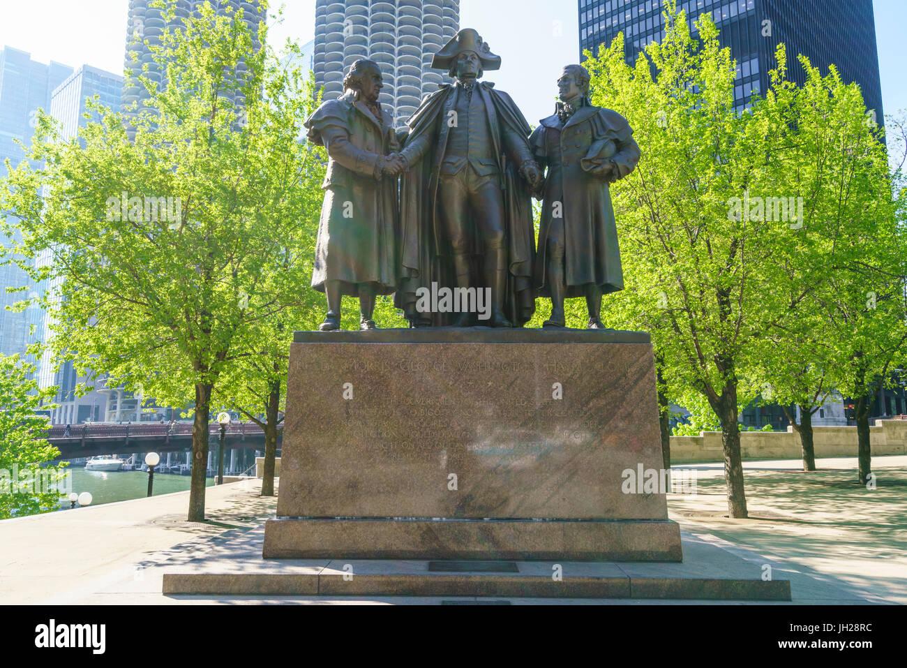 Robert Morris, George Washington, Haym Salomon Memorial statue stands by the Chicago River, Chicago, Illinois, USA Stock Photo