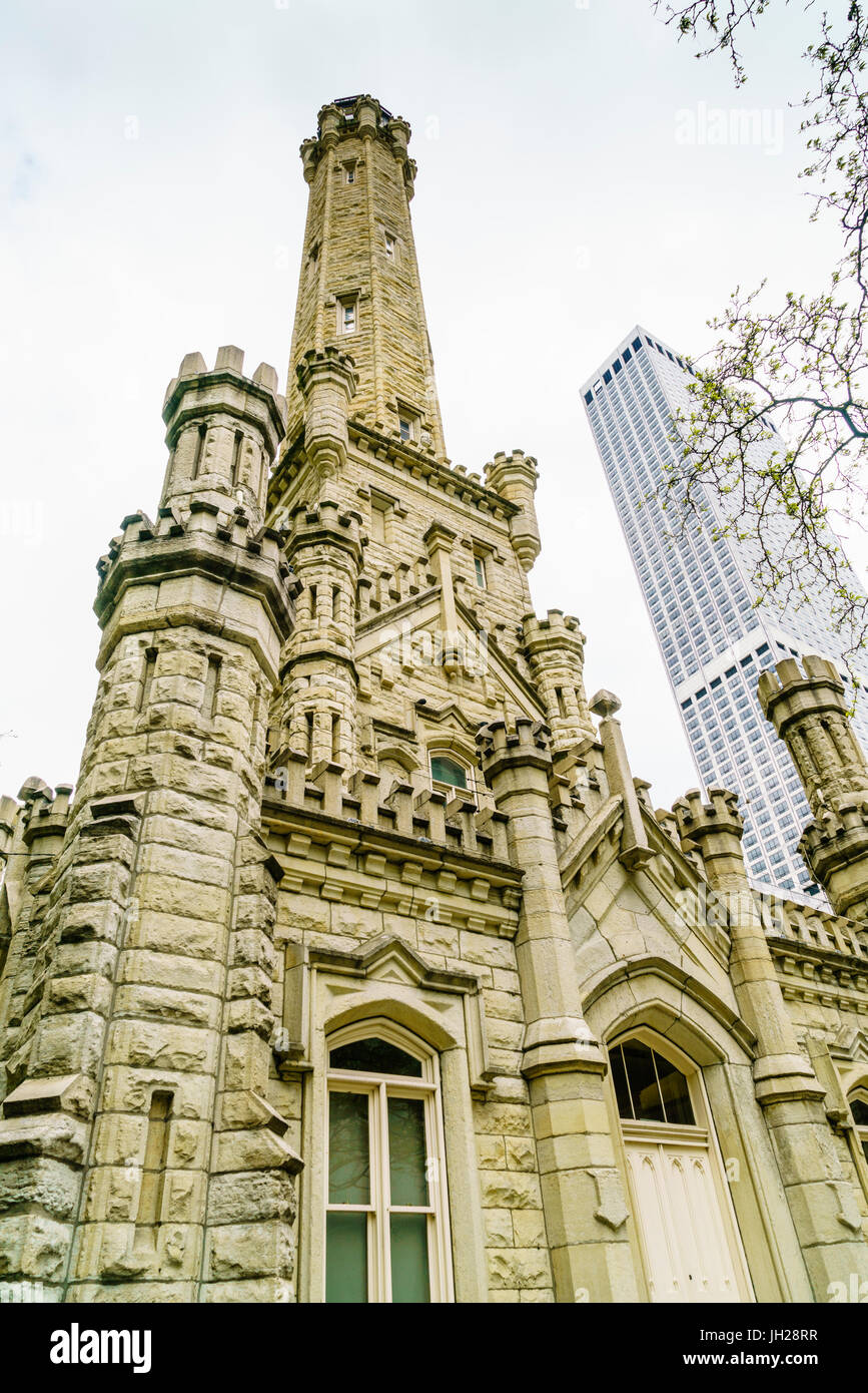 The Historic Water Tower, North Michigan Avenue, Chicago, Illinois, United States of America, North America Stock Photo
