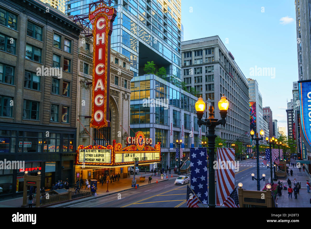 The Chicago Theatre on North State Street, Chicago, Illinois, United States of America, North America - Stock Image
