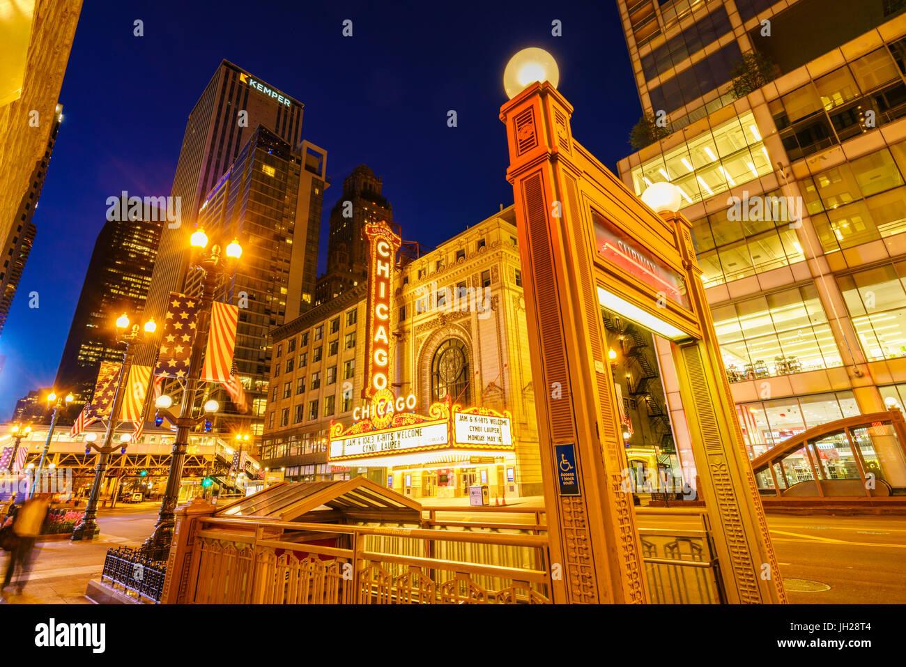Chicago Theatre, North State Street, Chicago, Illinois, United States of America, North America - Stock Image