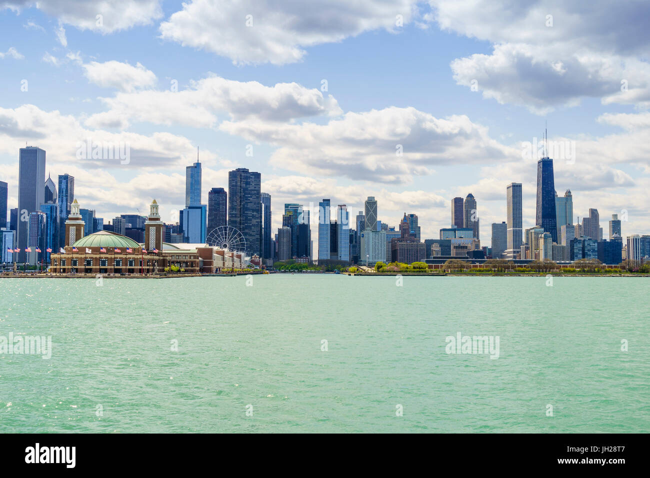 Chicago skyline and Navy Pier from Lake Michigan, Chicago, Illinois, United States of America, North America - Stock Image