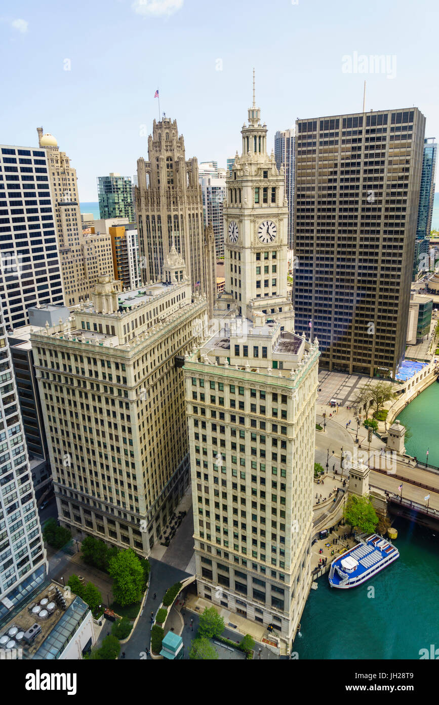 High view of the Wrigley Building, Chicago, Illinois, United States of America, North America - Stock Image