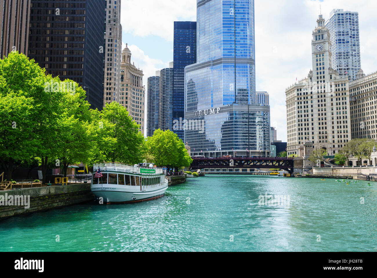 Chicago River with Trump Tower and Wrigley Building, Chicago, Illinois, United States of America, North America - Stock Image
