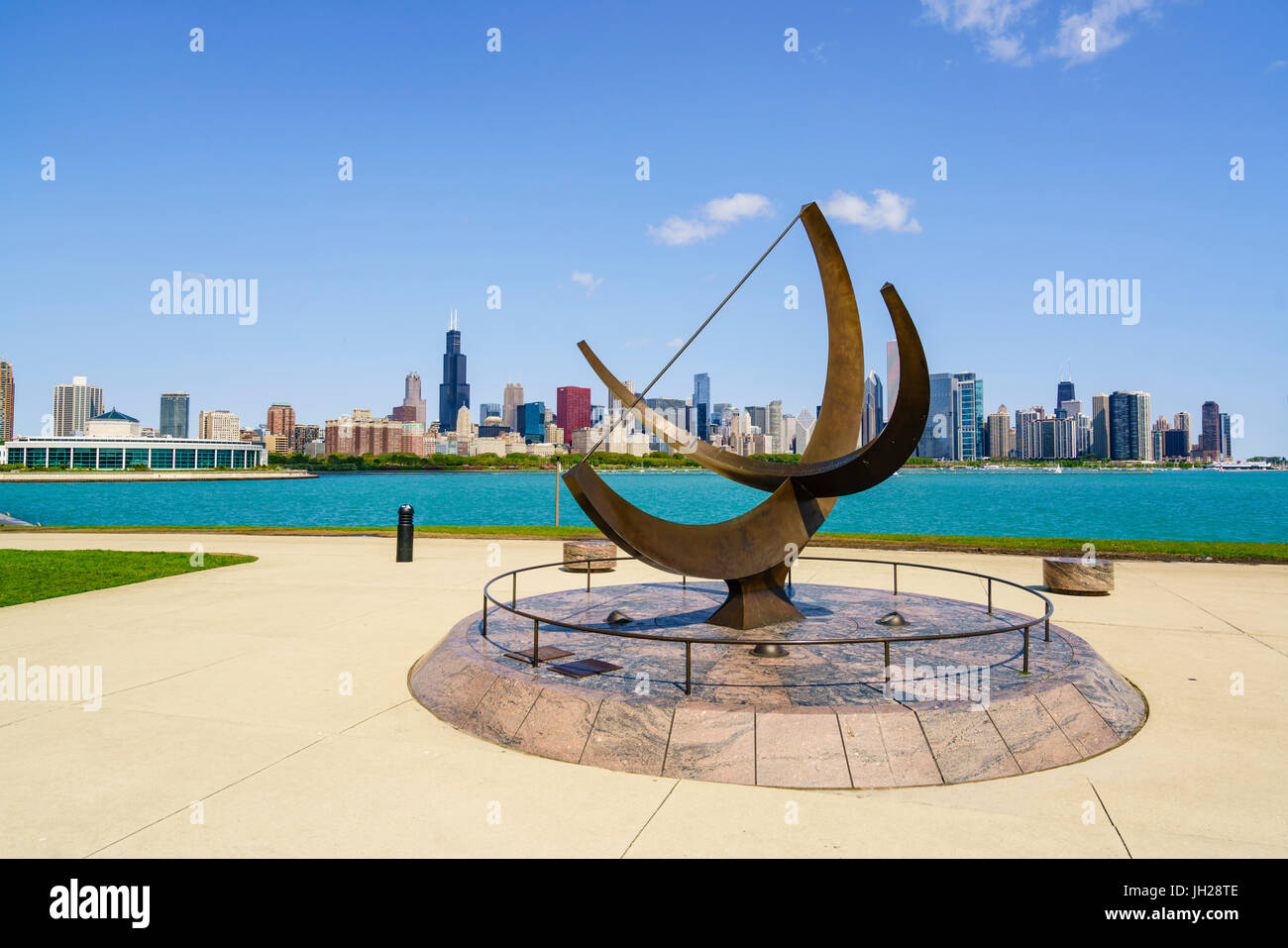 The Adler Planetarium sundial with Lake Michigan and city skyline beyond, Chicago, Illinois, United States of America - Stock Image