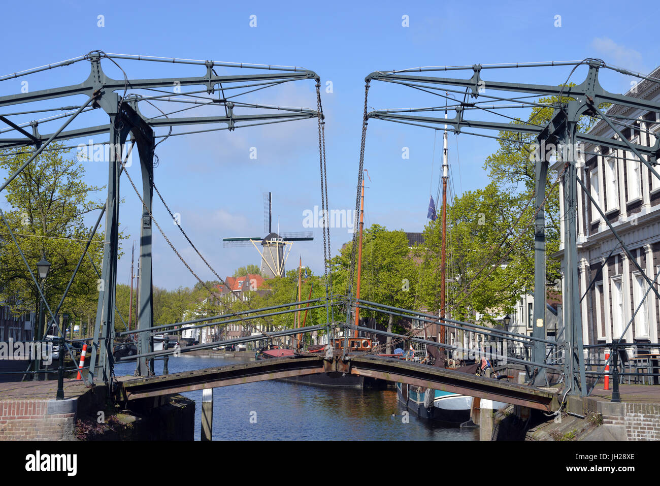 Canals and windmills at Schiedam, Netherlands, Europe Stock Photo