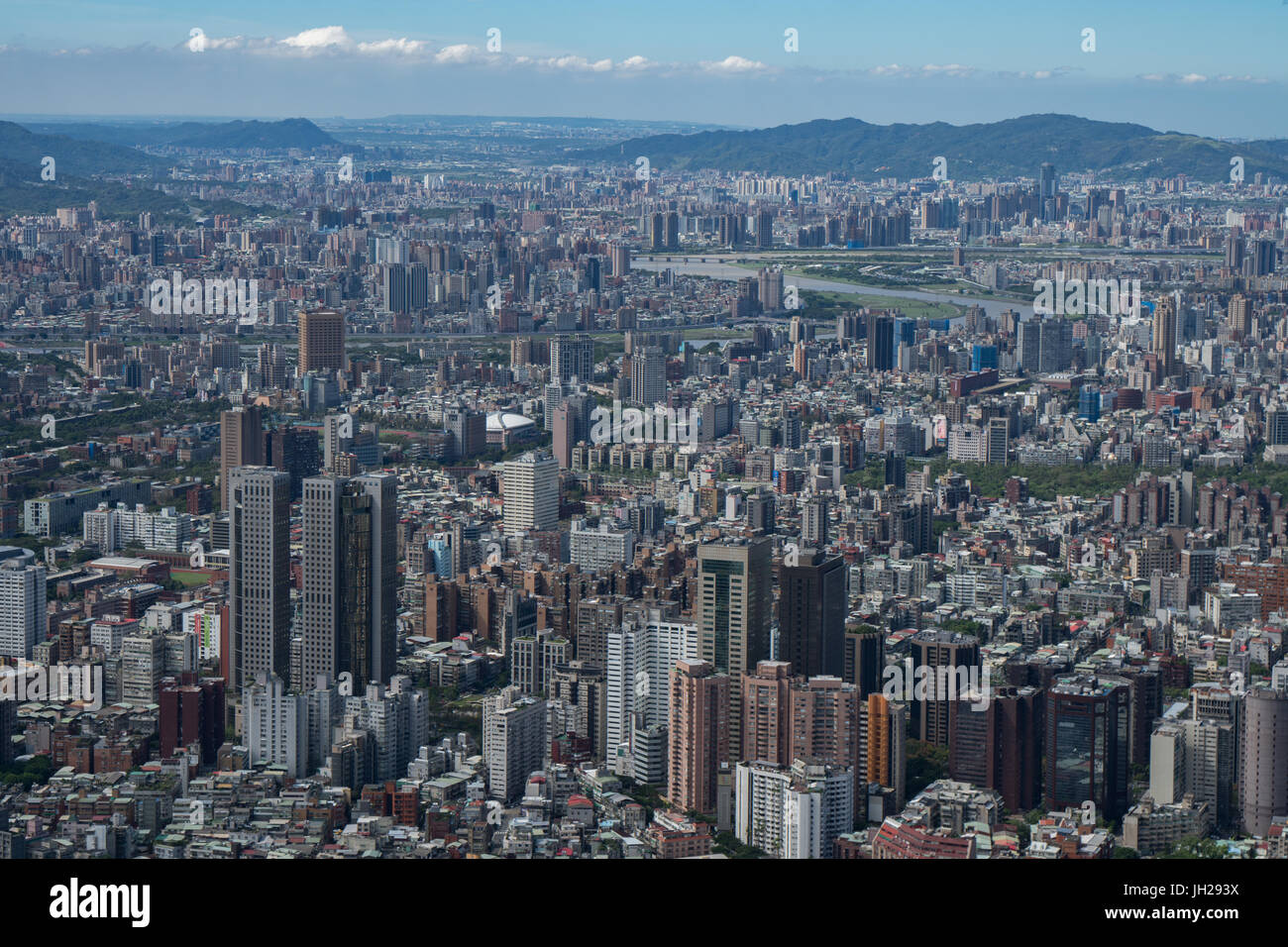 Taipei cityscape as seen from Taipei 101, the world's eighth tallest building at 1667 ft, Taipei, Taiwan, Asia Stock Photo