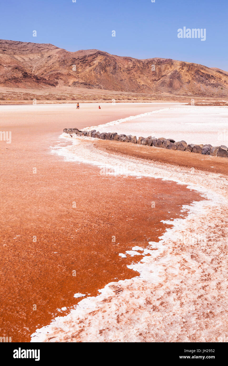 Disused salt pans at Pedra De Lume, Pedra di Lumi, the centre of salt production and trade, Sal Island, Cape Verde, - Stock Image