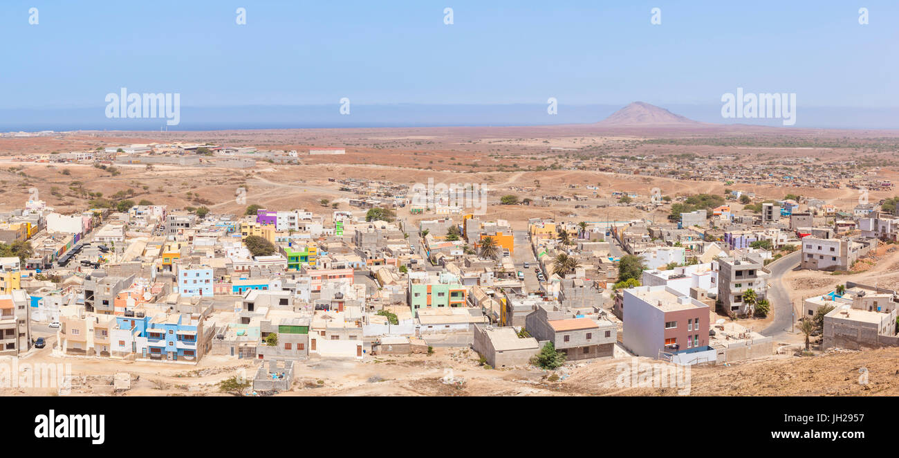 Aerial panoramic view of Espargos, capital city of the island of Sal, Cape Verde, Atlantic, Africa - Stock Image