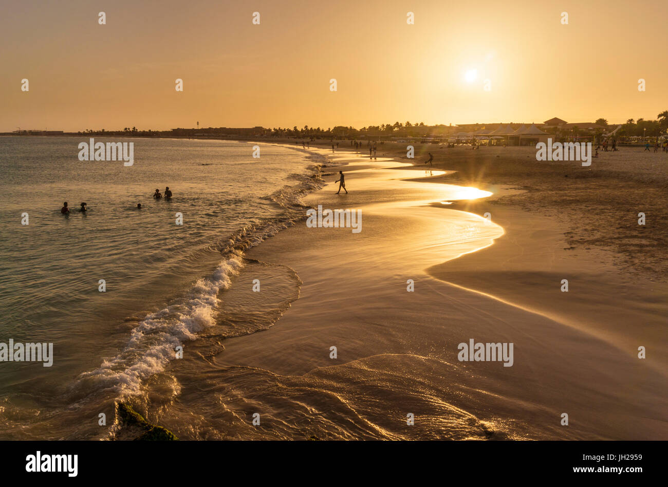 Sunset at the beach in Santa Maria, Praia de Santa Maria, Baia de Santa Maria, Sal Island, Cape Verde, Atlantic, - Stock Image