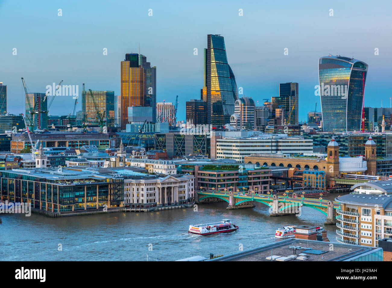 City of London skyline, Tower 42, The Cheesegrater and Walkie Talkie skyscrapers, London, England, United Kingdom, - Stock Image