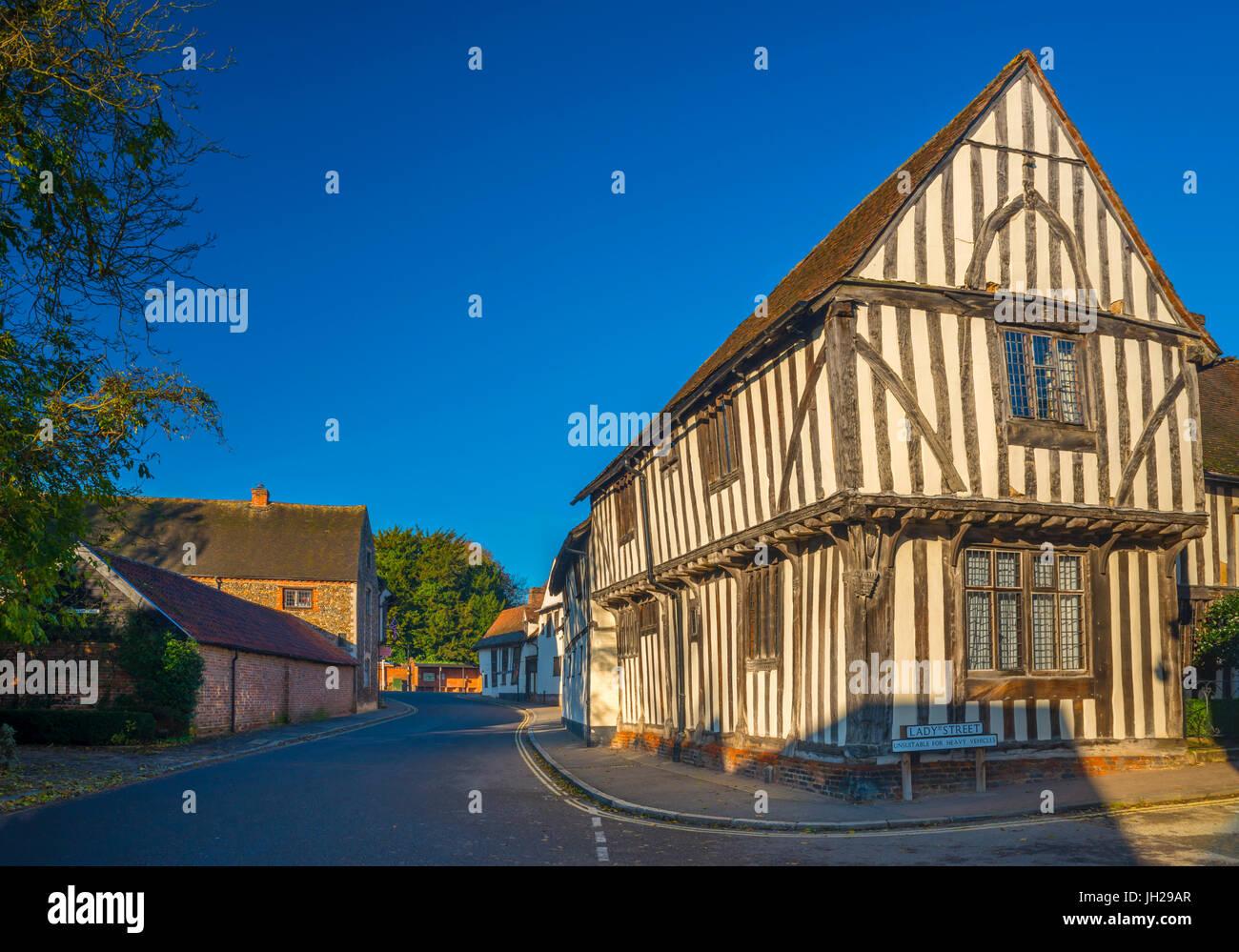 Corner of Water Street and Lady Street, Lavenham, Suffolk, England, United Kingdom, Europe - Stock Image