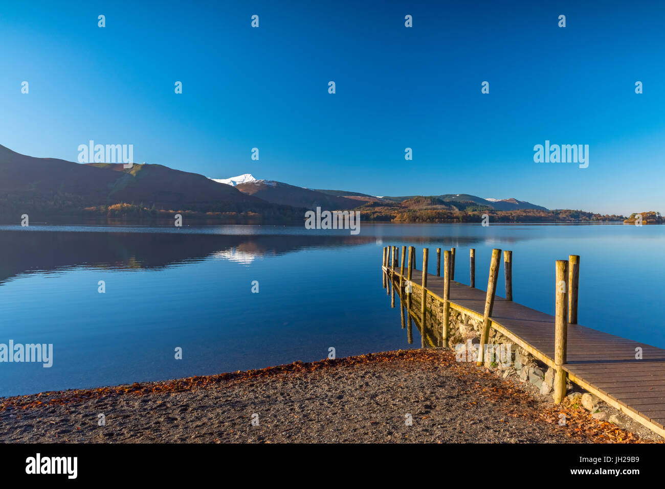 Ashness Jetty, Derwentwater, Keswick, Lake District National Park, Cumbria, England, United Kingdom, Europe - Stock Image