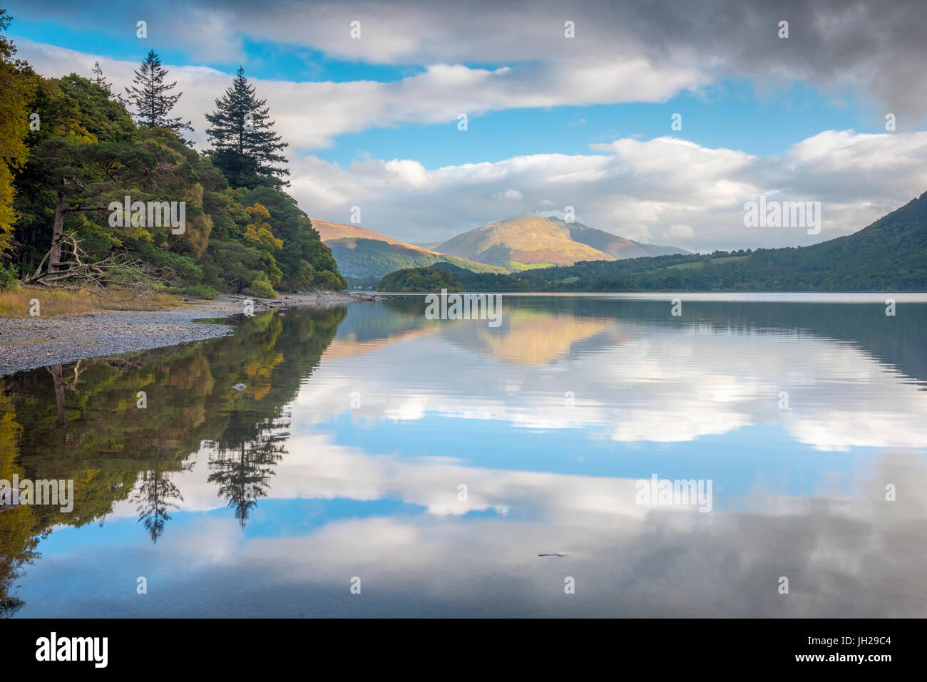 Reflections, Derwentwater, Lake District National Park, Cumbria, England, United Kingdom, Europe - Stock Image