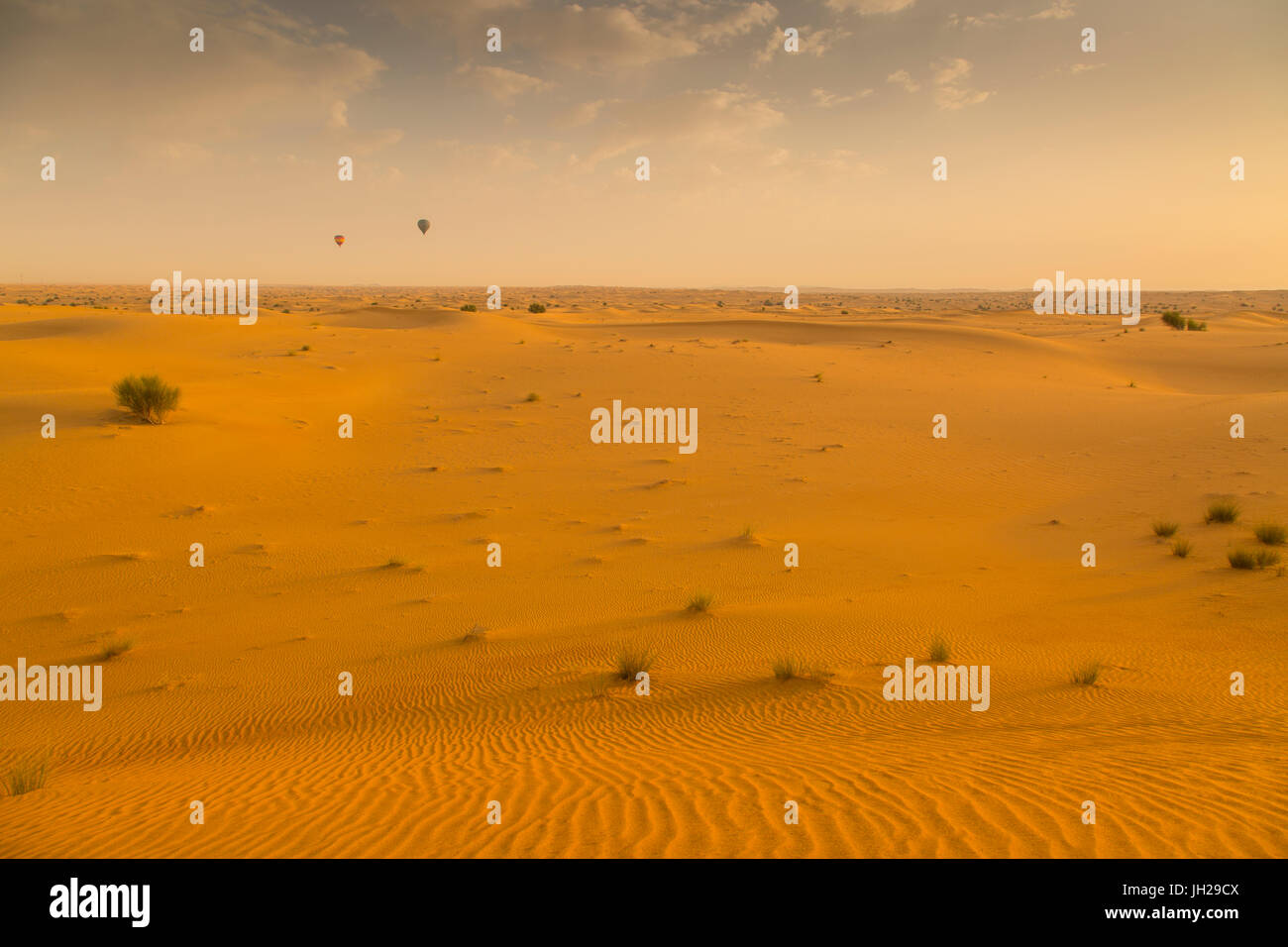 Hot air balloons over sand dunes at sunrise in the Dubai Desert, Dubai, United Arab Emirates, Middle East - Stock Image