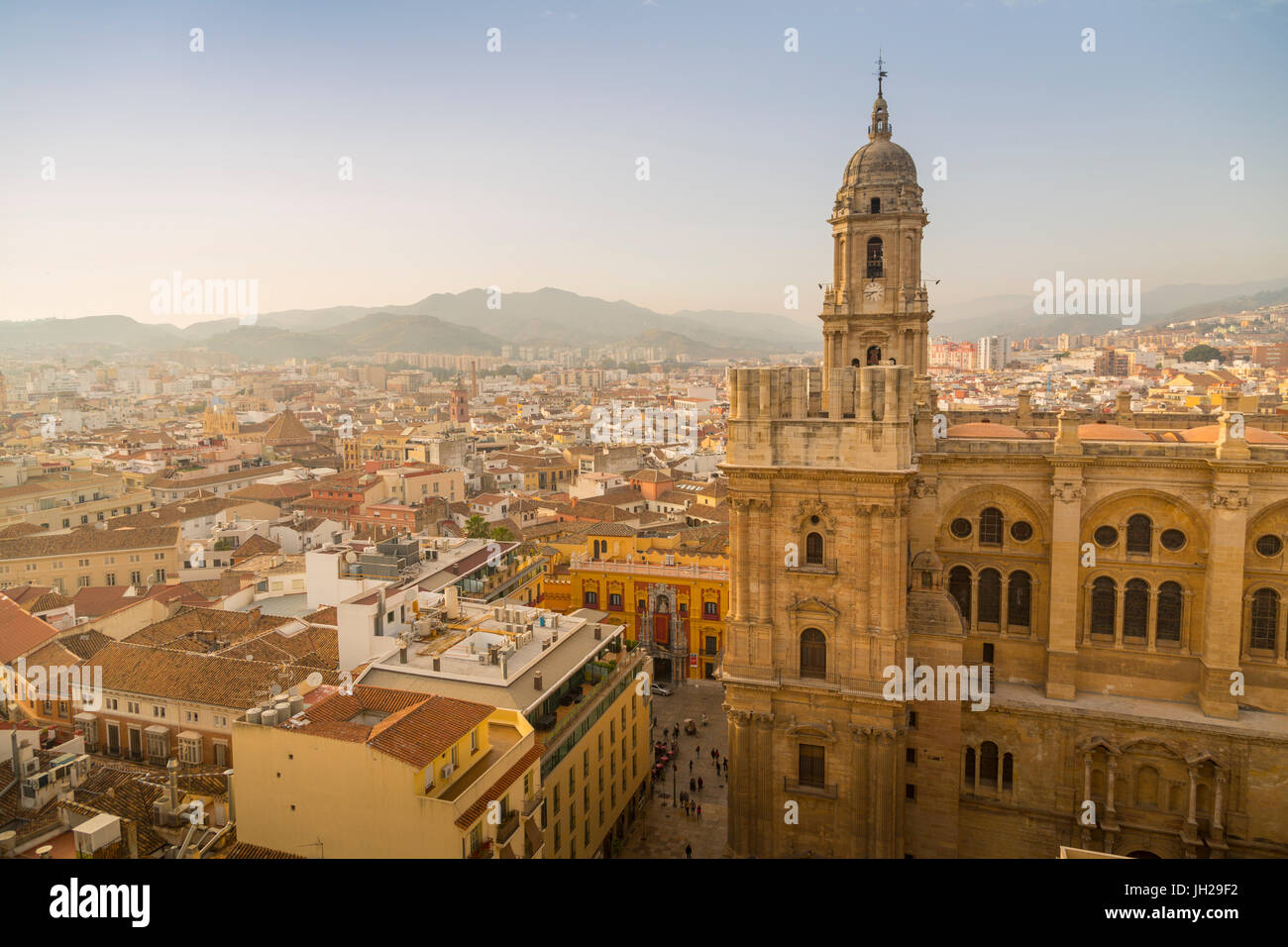 Elevated view of Malaga Cathedral, Malaga, Costa del Sol, Andalusia, Spain, Europe - Stock Image