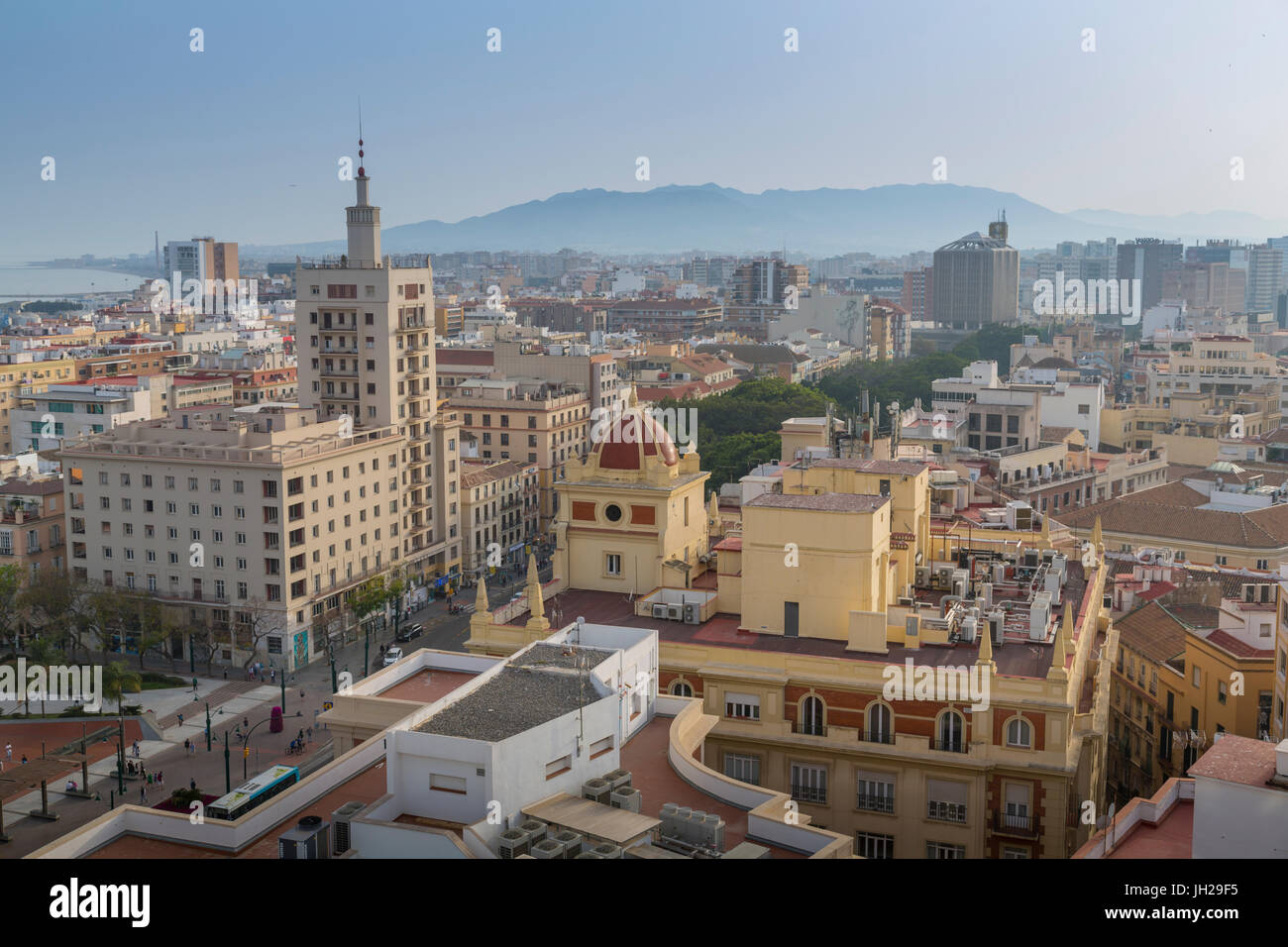 Elevated view of Alameda Principal, Malaga, Costa del Sol, Andalusia, Spain, Europe - Stock Image