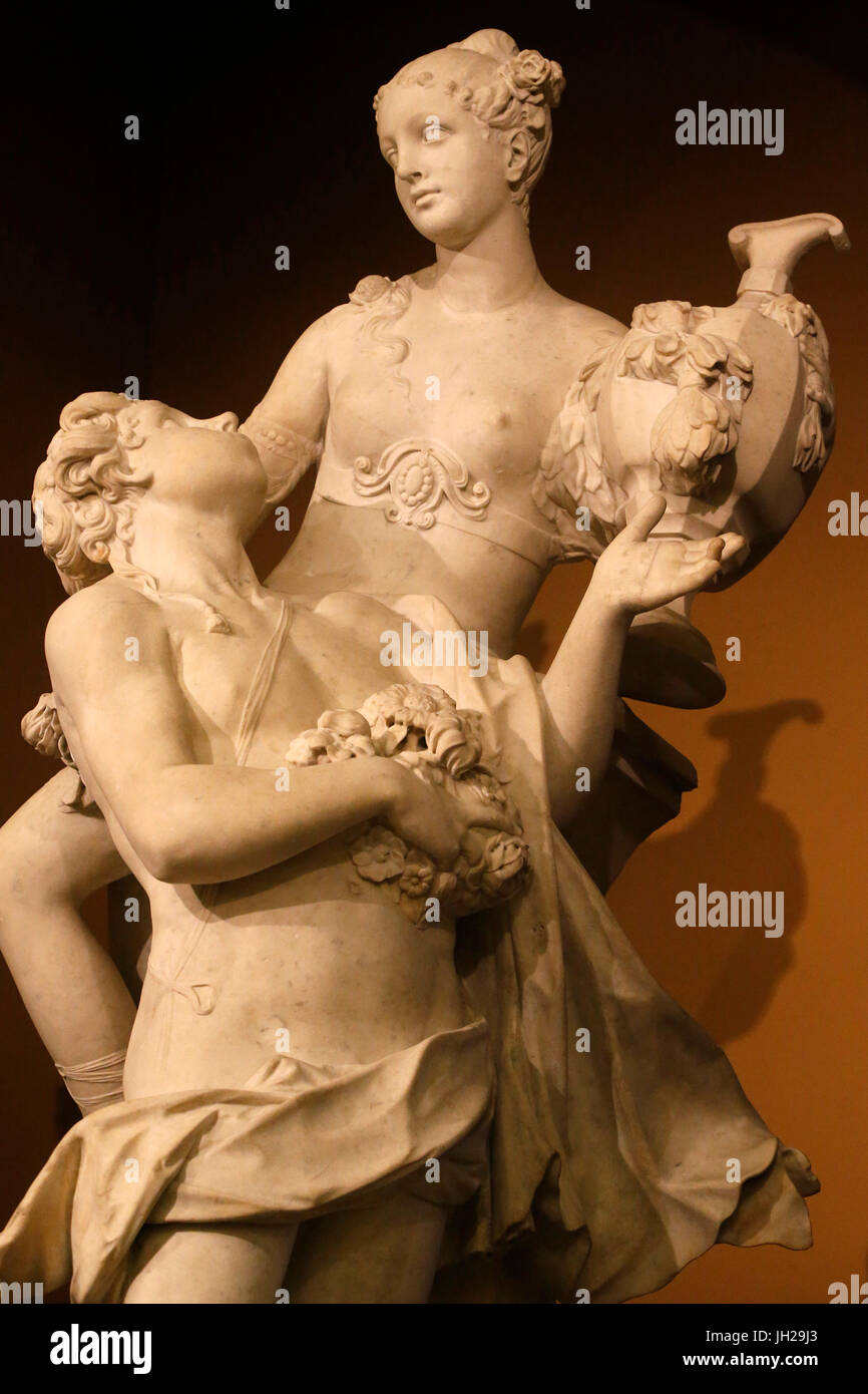The Victoria and Albert Museum. Antonio Corradini. Zephyr and Flora. About 1719-23. Marble. United kingdom. - Stock Image