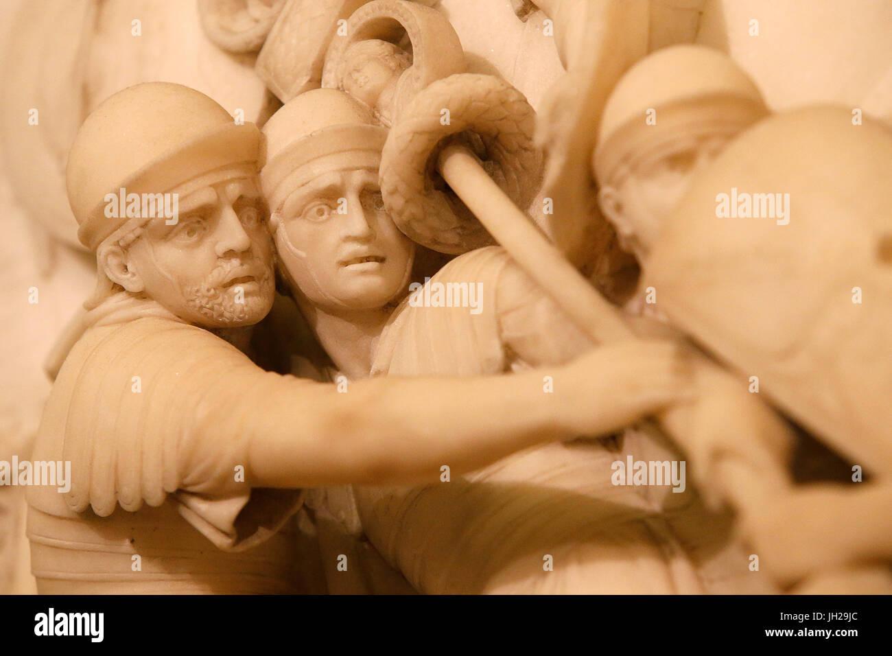 The Victoria and Albert Museum. John Deare. Caesar invading Britain (detail). 1796. Marble. United kingdom. - Stock Image