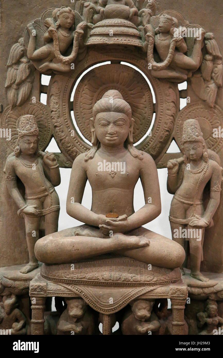 The Victoria and Albert Museum. The Jina Rishabhanatha. 800-900. Sandstone. Northern India. United kingdom. - Stock Image