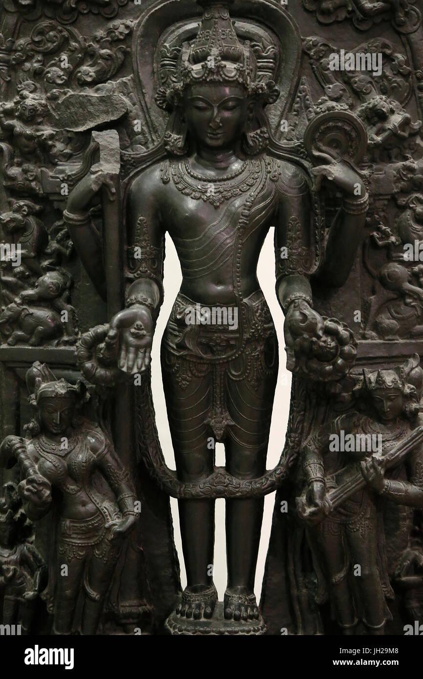 The Victoria and Albert Museum. Vishnu. 1100-1200. Pala period. Black shale. Bengal. United kingdom. - Stock Image
