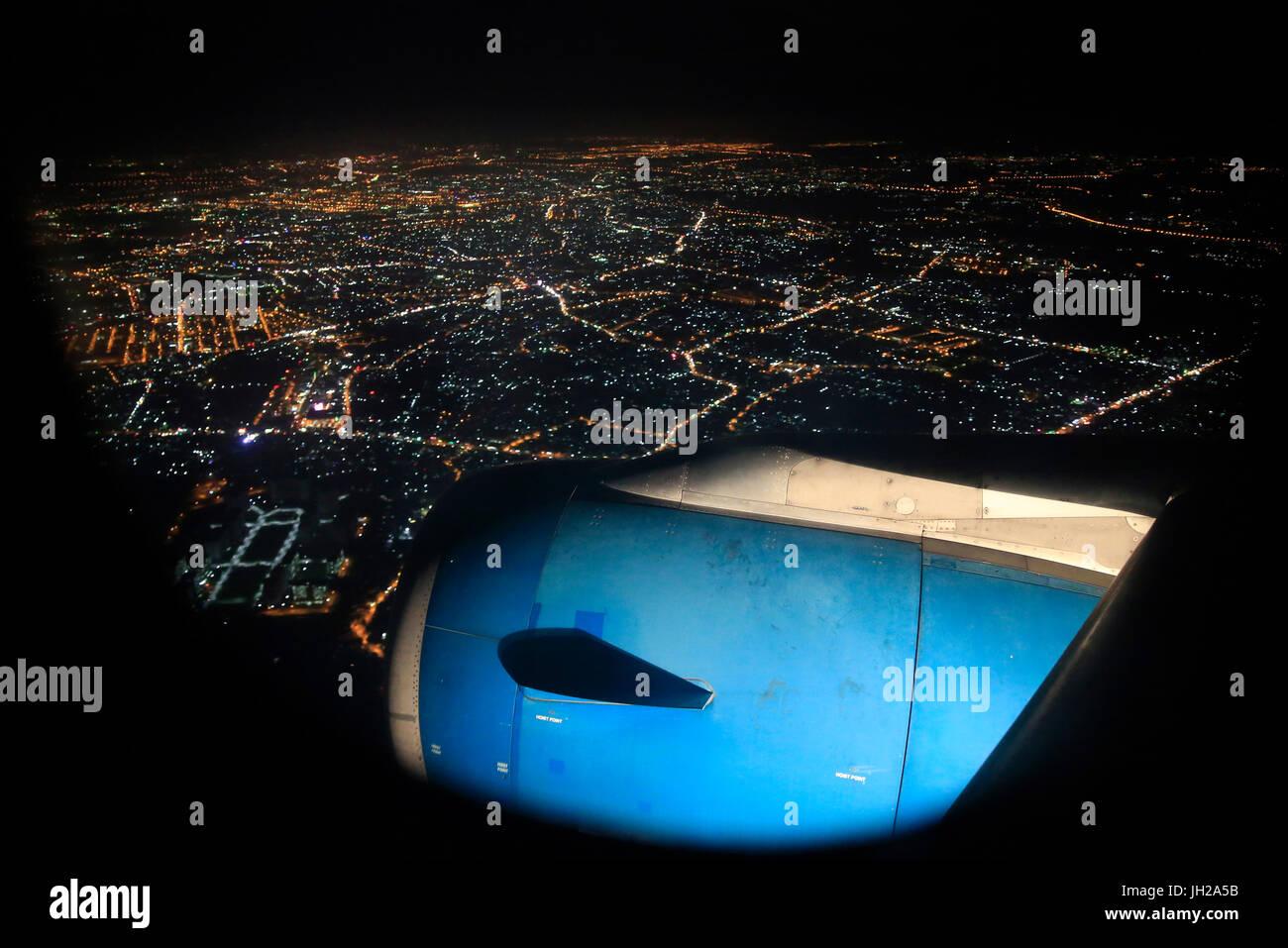 Vietnam Airlines. Airbus A321 landing at Tan Son Nhat International Airport. Ho Chi Minh City. Vietnam. - Stock Image