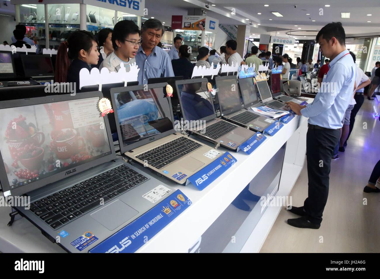 Electronics shop. Laptops. Ho Chi Minh City. Vietnam. - Stock Image