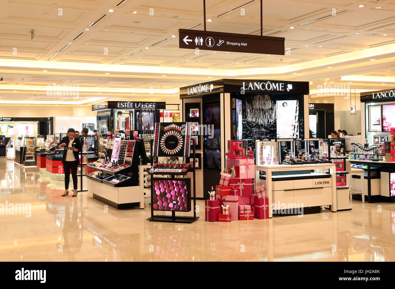 Ho Chi Minh city. District 1. Shopping mall. Perfume and cosmetics.  Vietnam. - Stock Image