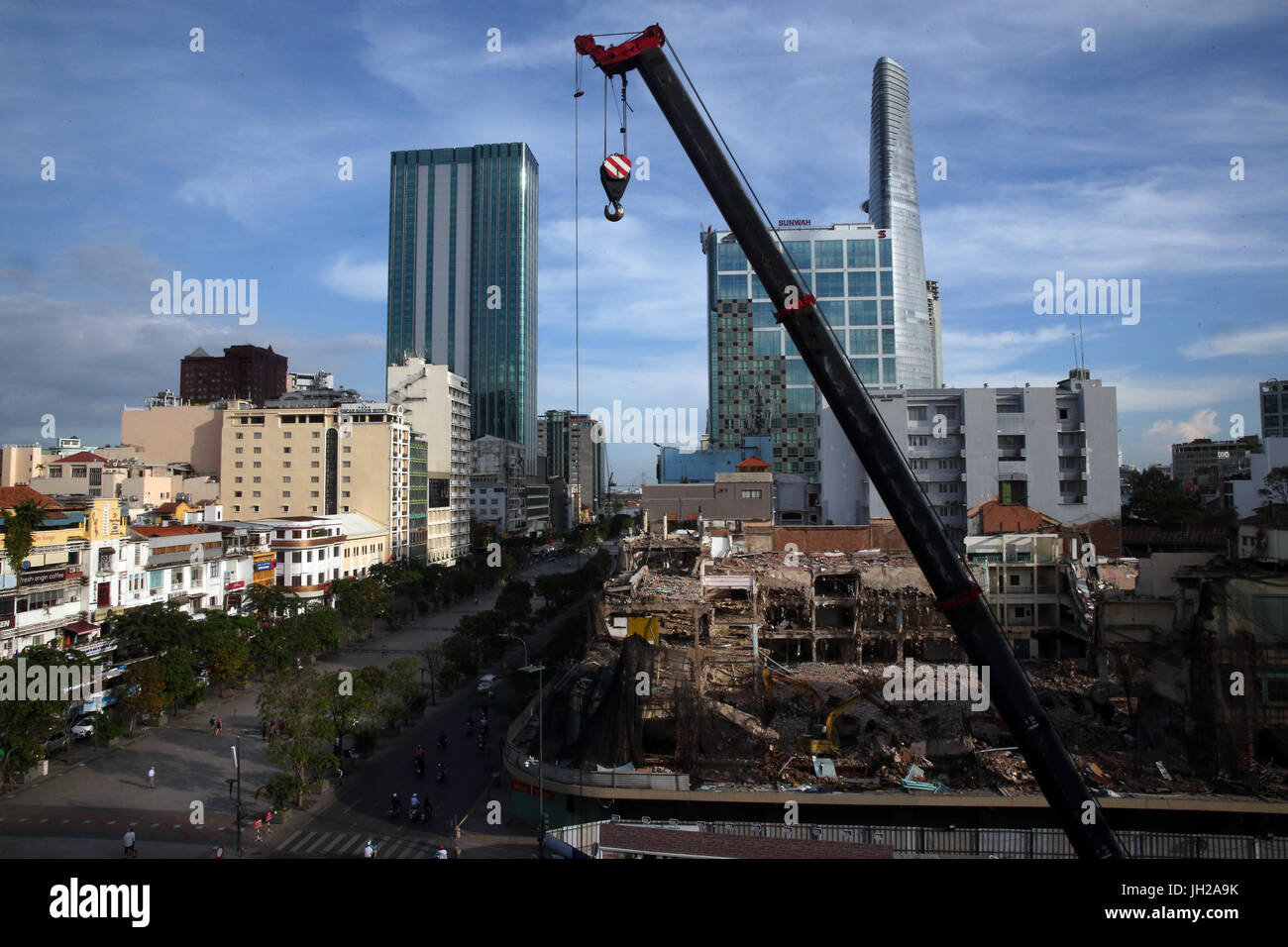 Construction site in Ho Chi minh city. Crane.  Vietnam. Stock Photo