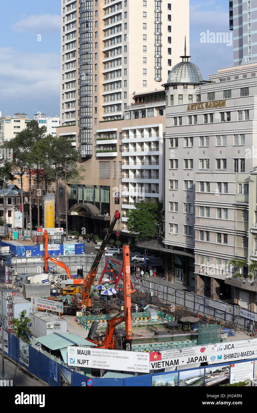 Construction site in Ho Chi minh city. The new metro.  Vietnam. Stock Photo