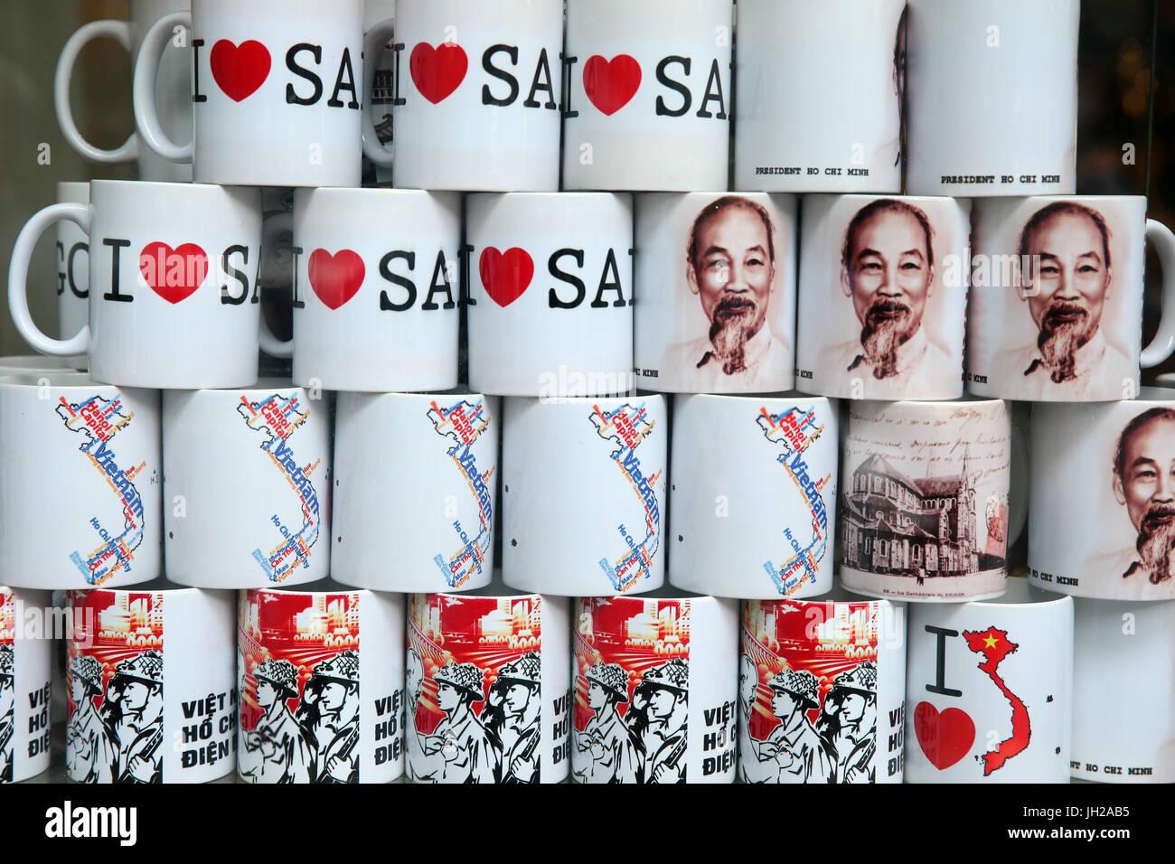 Vietnam mugs for sale.  Ho Chi Minh City. Vietnam. - Stock Image