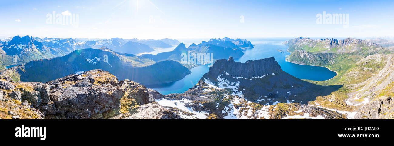 Panoramic view of a norwegian fjord in summer on Senja island in northern Norway, beautiful landscape - Stock Image