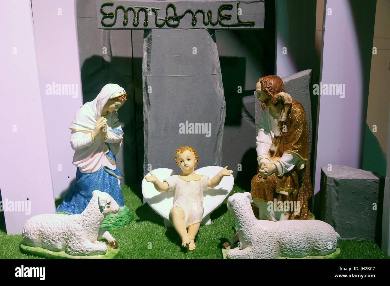 Christmas crib with baby Jesus.  Vietnam. - Stock Image