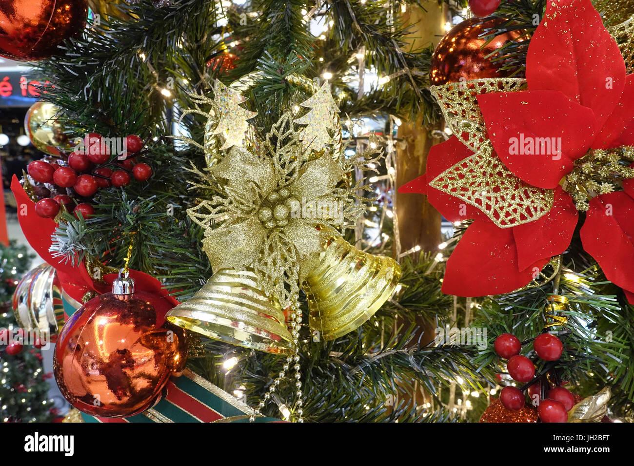 Decorated Christmas tree.  Vietnam. Stock Photo