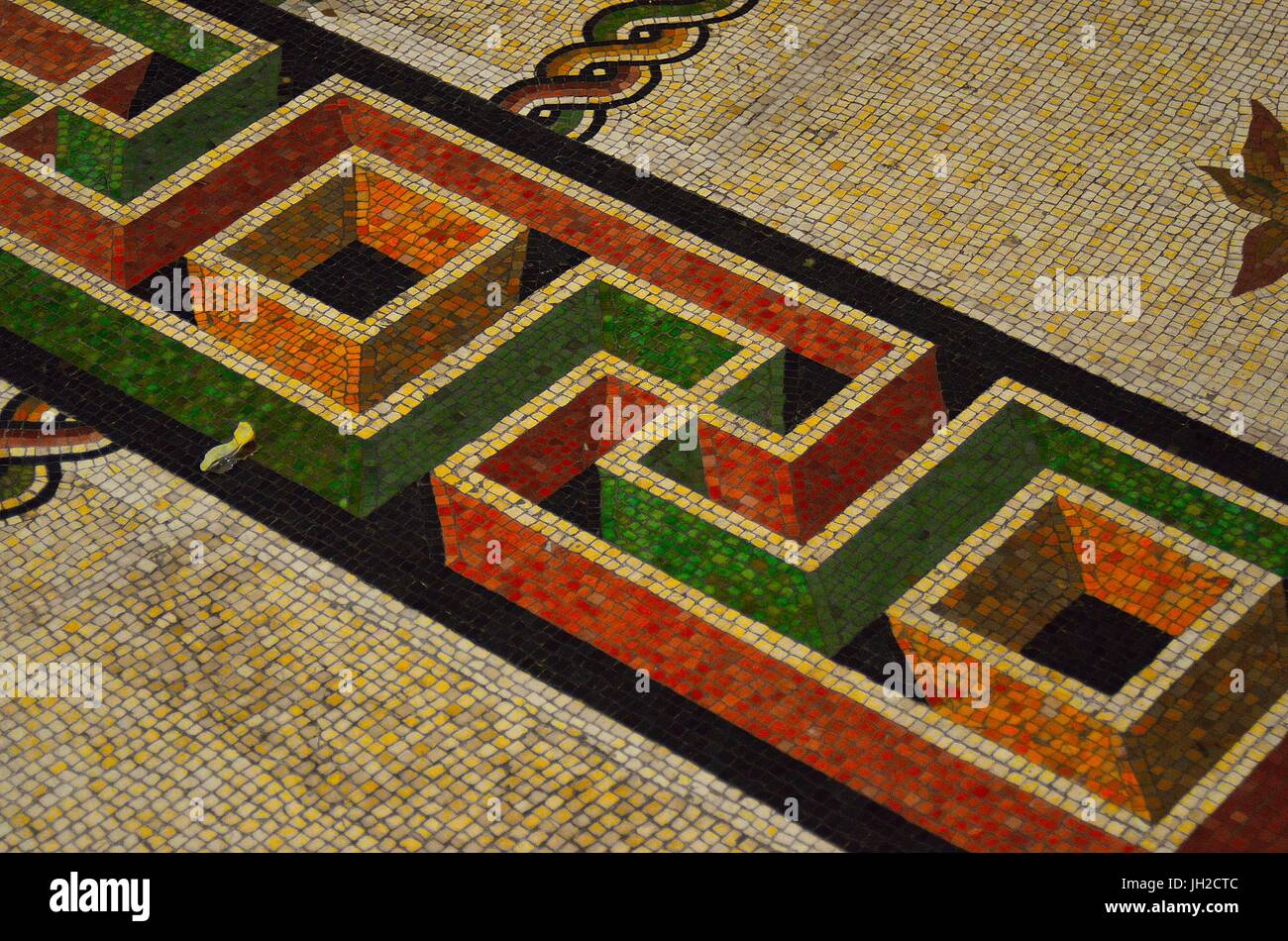 Close up of Mosaic Design near Round monolithic porphyry basin on the floor of Round Room of Pio-Clementino Museum - Stock Image