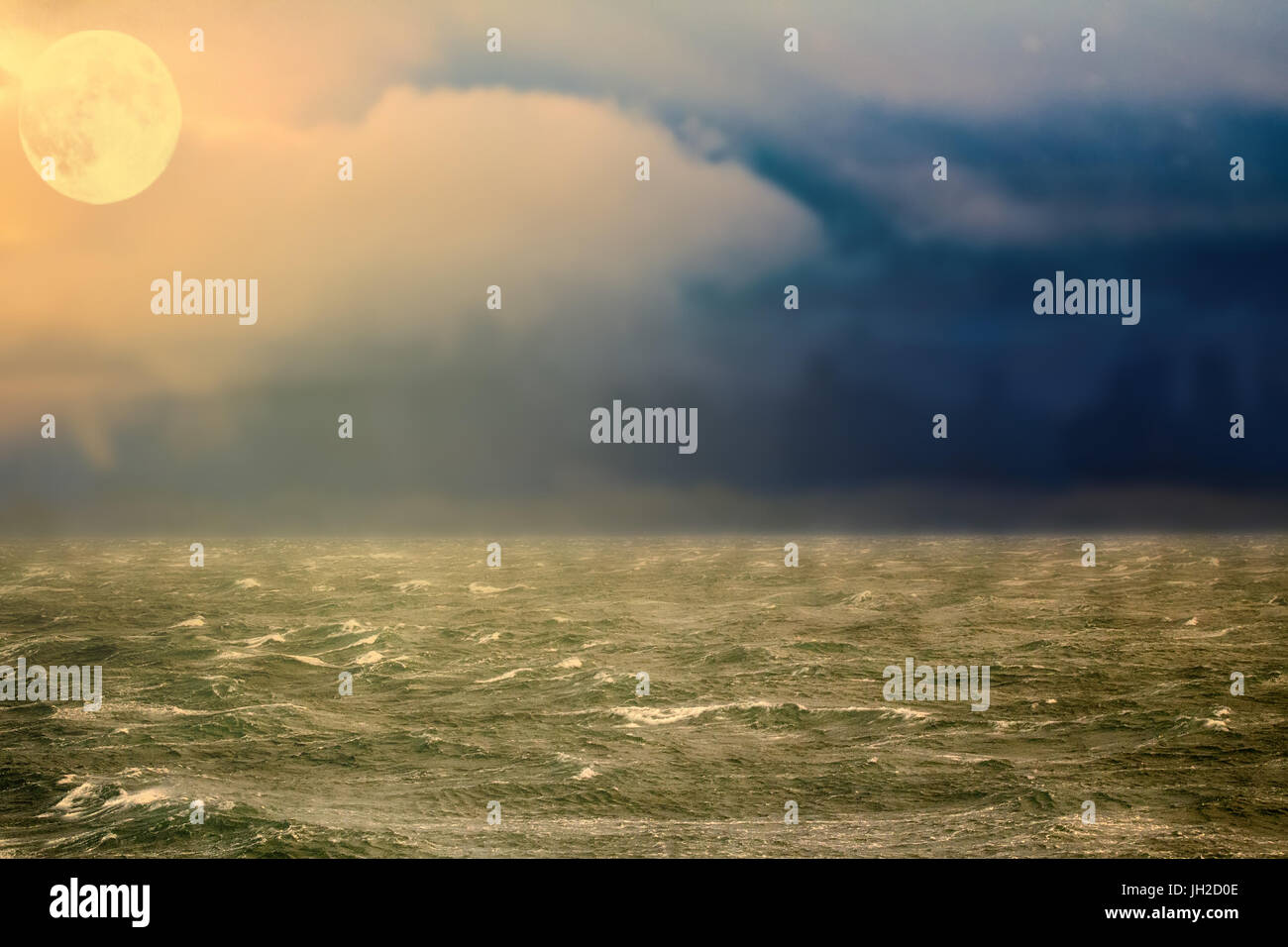 Global warming. Arctic ocean from height of bird flight - free of ice. moonrise, storm, are specific foam streaks - Stock Image
