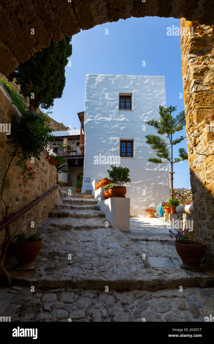 Monastery in the castle of Chora on Skyros island, Greece. - Stock Image