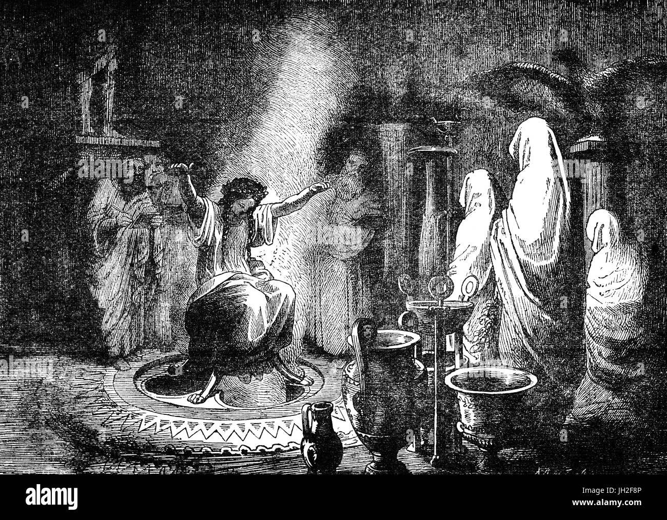 Delphi - the Pythian Priestess who also served as the oracle on the tripod in Apollo's Temple. The Pythia was - Stock Image