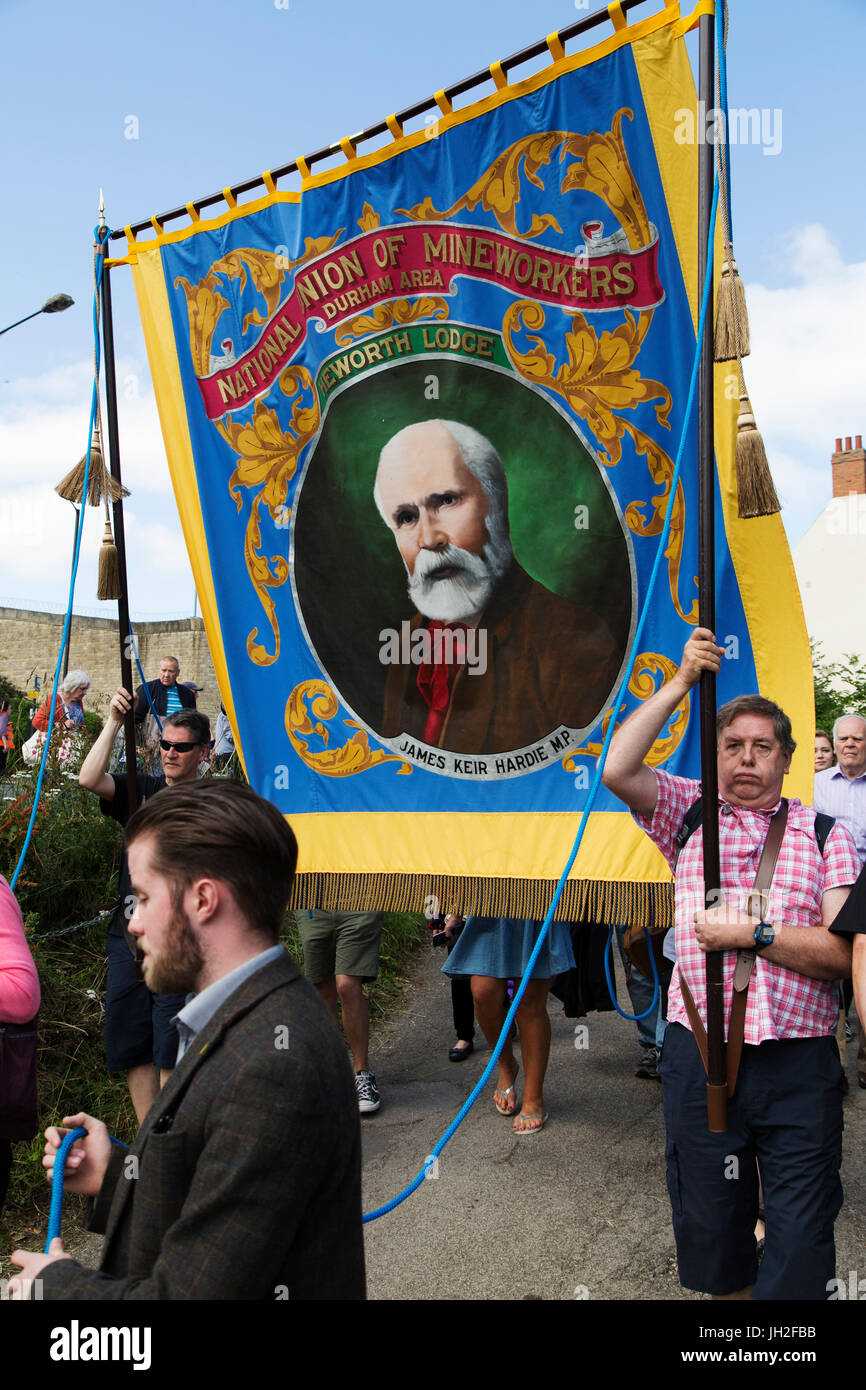 James Kier Hardie on the Heworth Lodge banner at the Durham Miners' Gala at Durham City, England. The 133rd - Stock Image