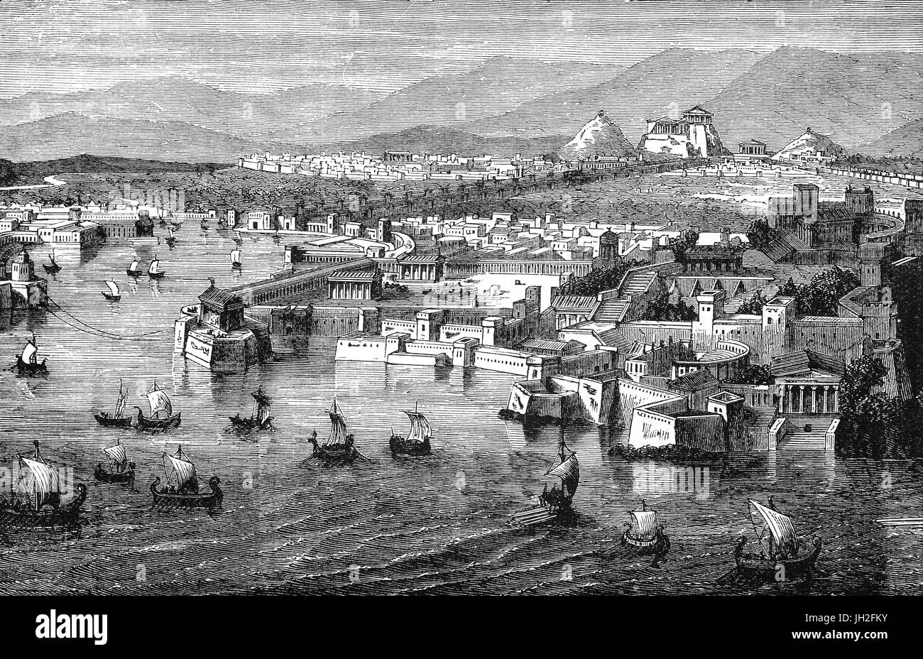 An aerial view of Athens frrom Piraeus during the 5th Century BC. It consisted of three separate harbours, Kantharos, - Stock Image