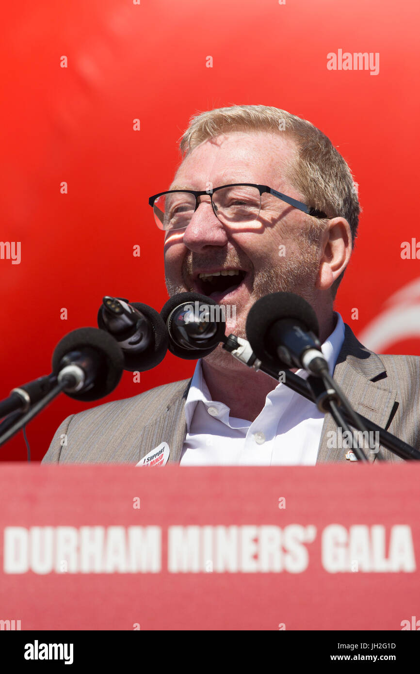 Len McCluskey, General Secretary of Unite, the trade union, at the Durham Miners' Gala at Durham City, England. - Stock Image