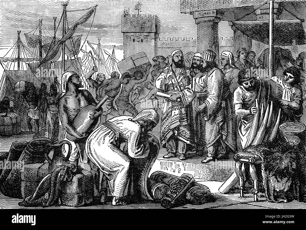 Merchants and Traders in a Middle Eastern port during the late 5th Century BC - Stock Image