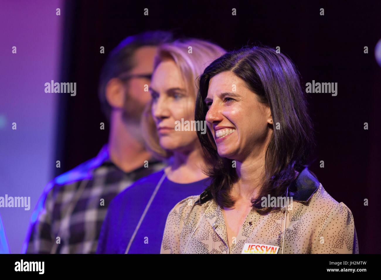 Seattle, Washington, USA. 11th July, 2017. Jessyn Farrell, Jenny Durkan and  Jason Robert at Candidate Survivor Stock Photo