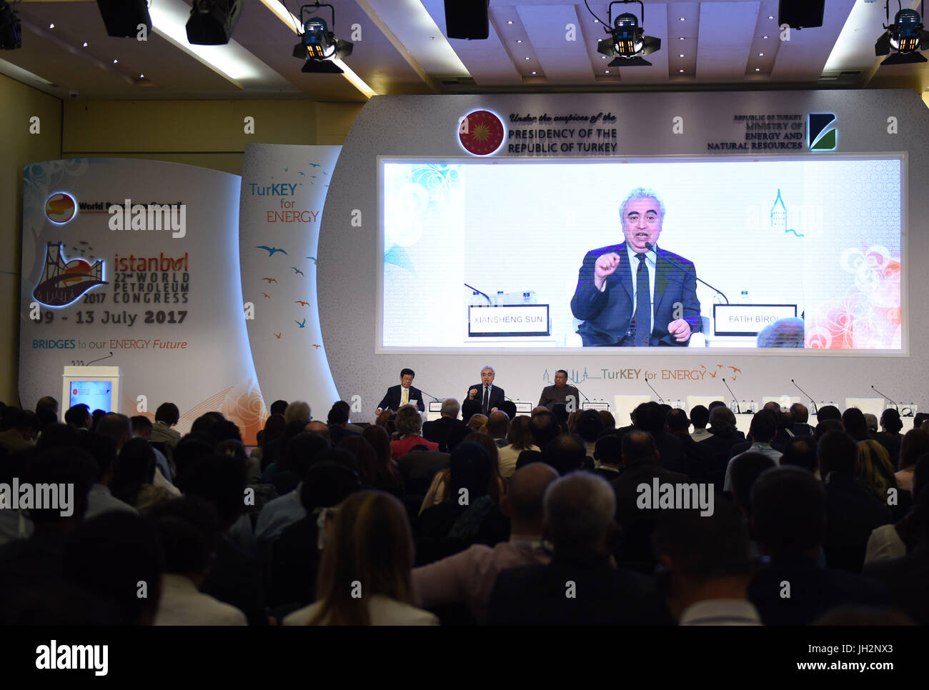 Istanbul. 12th July, 2017. Photo taken on July 12, 2017 shows a session of the 22nd World Petroleum Congress in - Stock Image