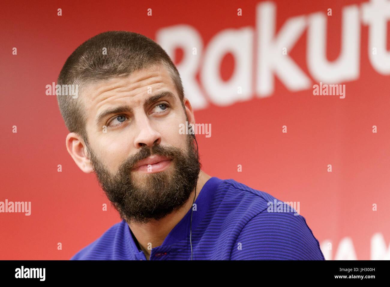 Tokyo, Japan. 13th July, 2017. FC Barcelona player Gerard Pique attends a press event at Rakuten Crimson House headquarters - Stock Image