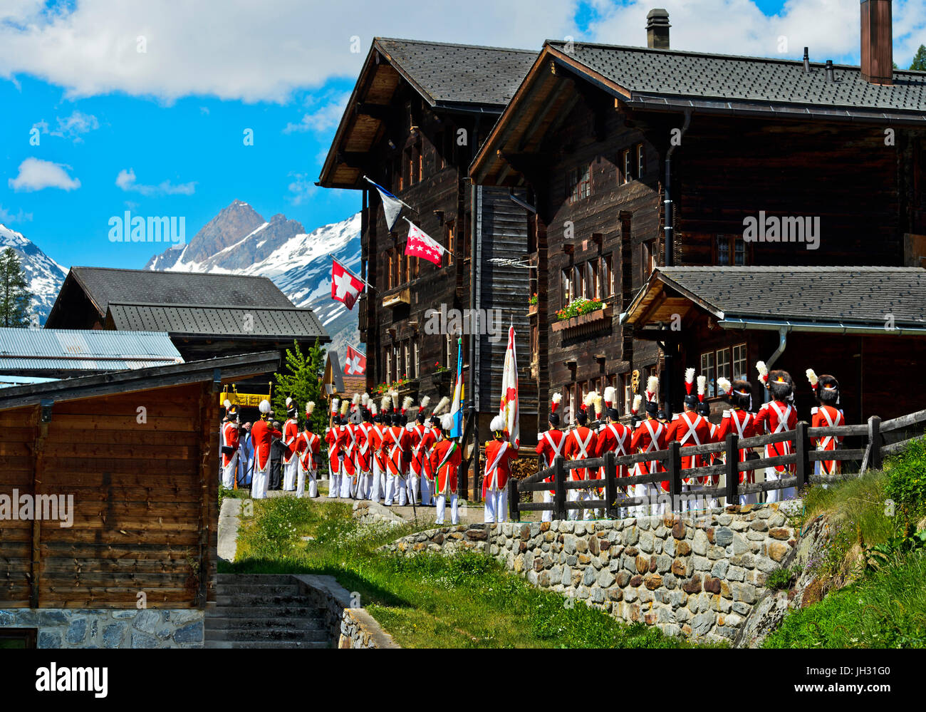 Grenadiers of Our Lord at the Corpus Christi procession, Blatten, Lötschental, Valais, Switzerland - Stock Image