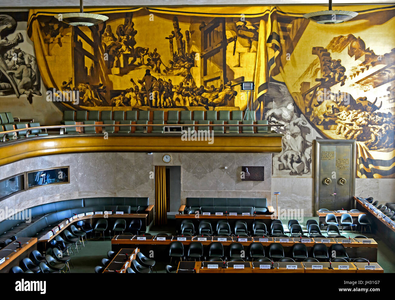 Murals in the Council Chamber, Palais des Nations, United Nations, Geneva, Switzerland - Stock Image
