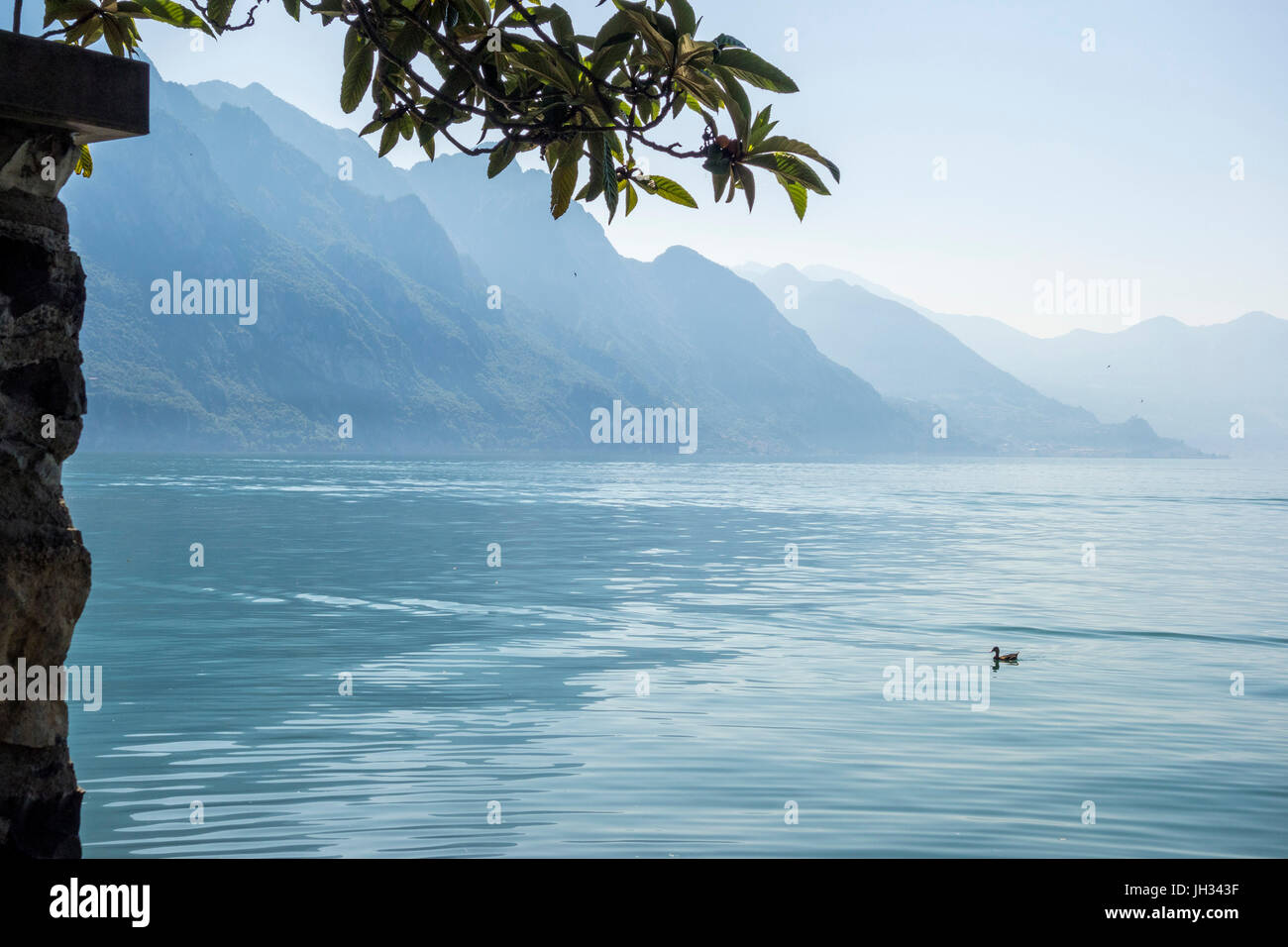 Lake View from Riva Di Solto, Lago Iseo, Italy - Stock Image