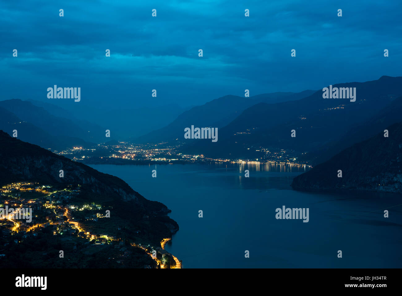 Full Moon Over Lago Iseo, Italy - Stock Image