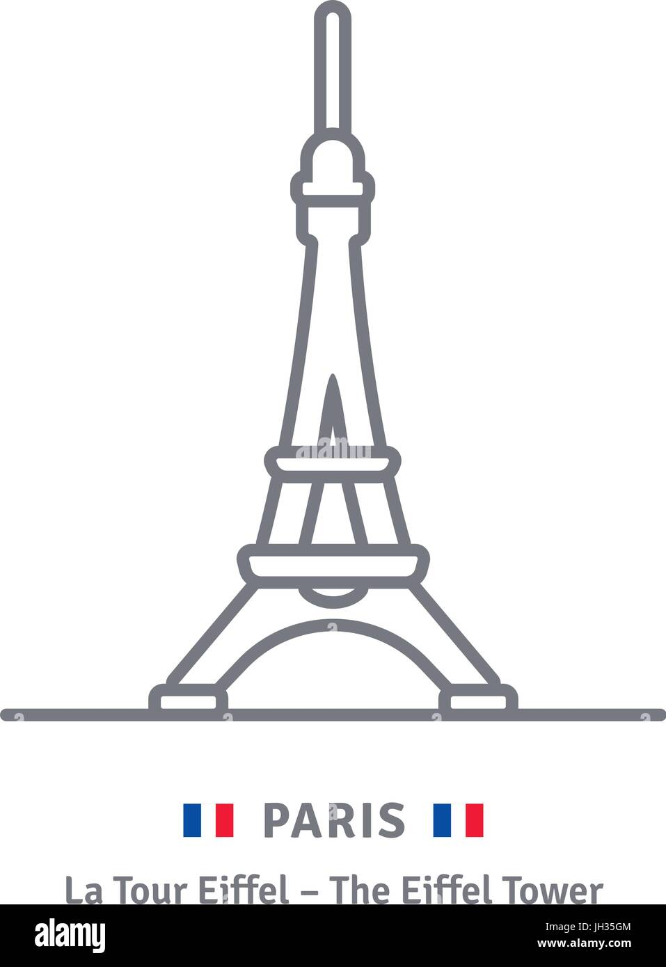 Paris line icon. Eiffel Tower and French flag vector illustration. - Stock Image