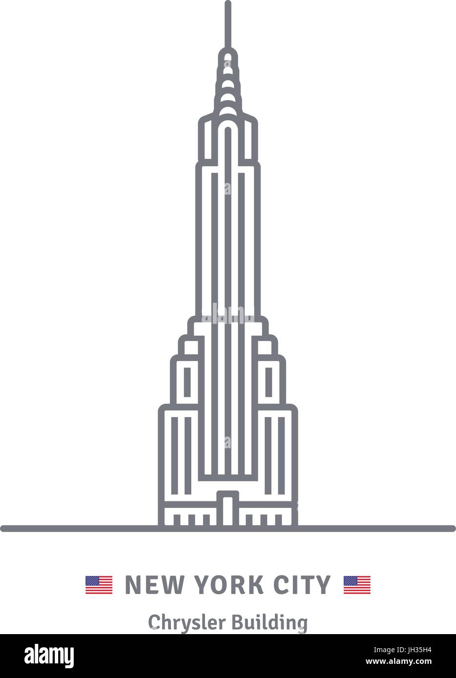 New York City line icon. Chrysler building and US flag vector illustration. - Stock Vector